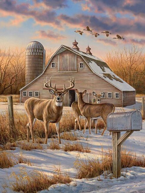 5D Diamond Painting Deer by a Brown Barn Kit