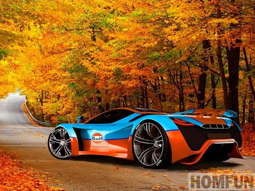 5D Diamond Painting Orange and Blue Sports Car Kit