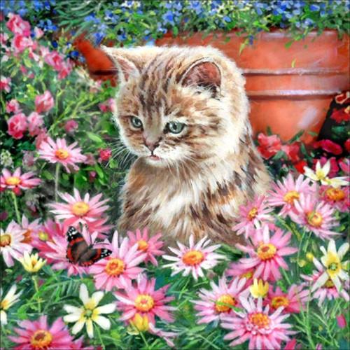 5D Diamond Painting Kitten in the Pink Daisies Kit