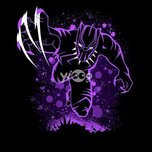 5D Diamond Painting Purple Glow Black Panther Kit