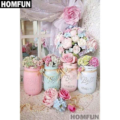 5D Diamond Painting Pastel Jar & Flowers Kit
