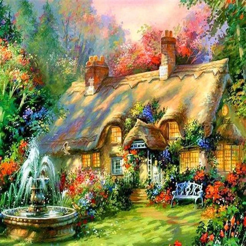 5D Diamond Painting Home with Fountain Kit