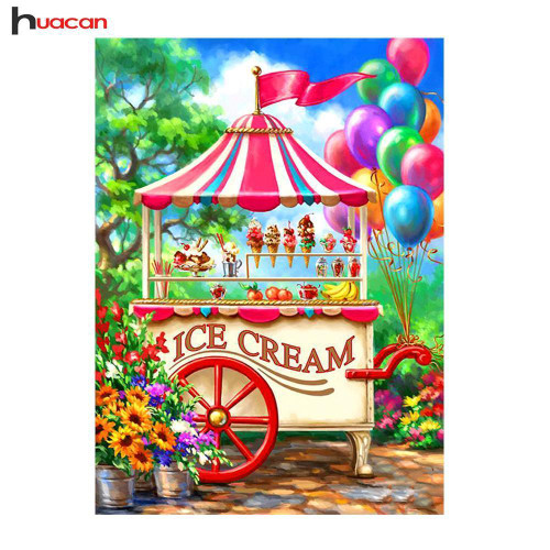 5D Diamond Painting Ice Cream Stand Kit