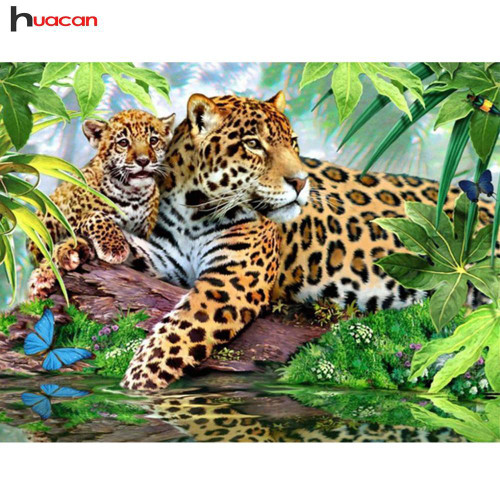 5D Diamond Painting Leopard and her Cub Kit