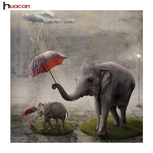 5D Diamond Painting Elephants in the Rain