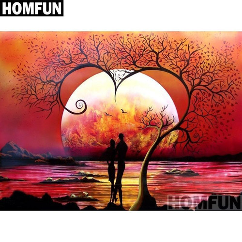 5D Diamond Painting Couple and the Red Moon Kit