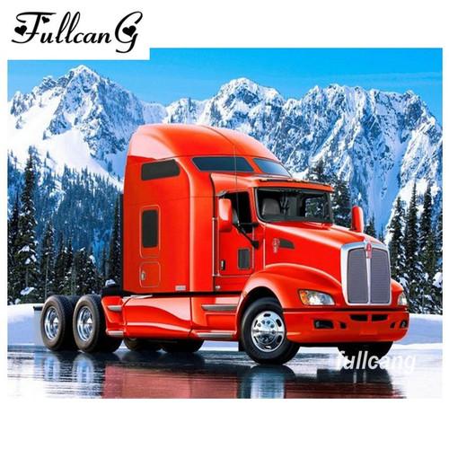 5D Diamond Painting Semi Truck Tractor Kit