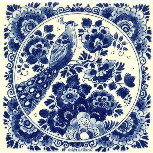 5D Diamond Painting Delft Blue Peacock Kit