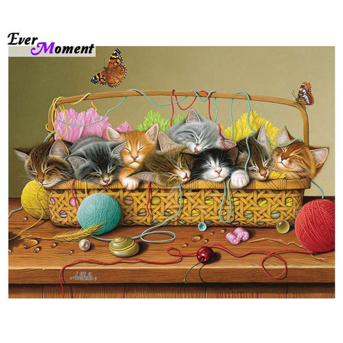 5D Diamond Paintings Kittens in a sewing Basket Kit
