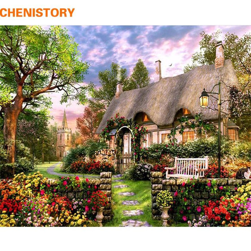 5D Diamond Painting Cottage by the Church Kit