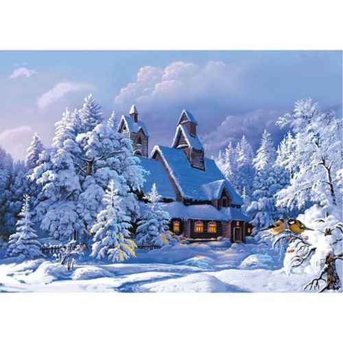 5D Diamond Painting Cabin in the Snow Kit