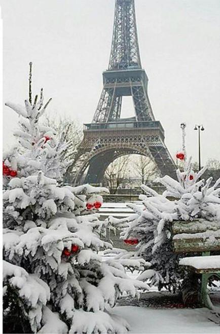 5D Diamond Painting Eiffel Tower Snow Kit