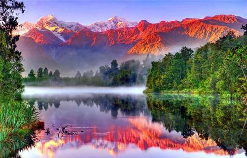 5D Diamond Painting Mountain Lake Sunrise Kit