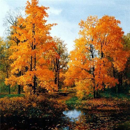 5D Diamond Painting Autumn Trees by the Lake Kit