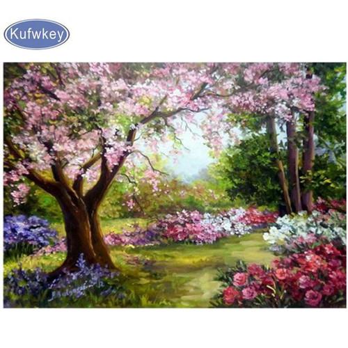 5D Diamond Painting Pink Tree Blossom Kit