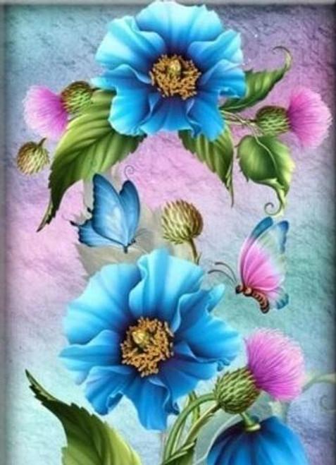 5D Diamond Painting Blue & Pink Flowers Kit