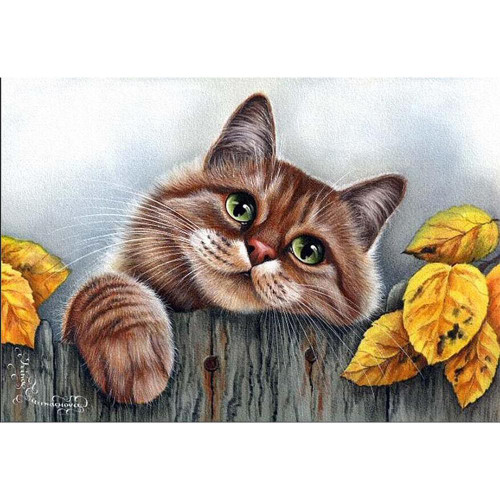 5D Diamond Painting Cat on the Fence Kit