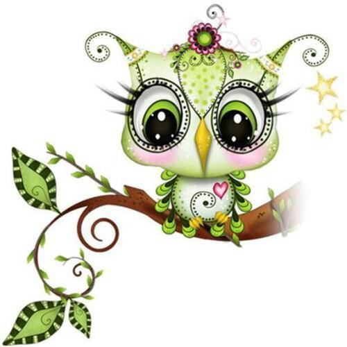 5D Diamond Painting Green Baby Owl Kit