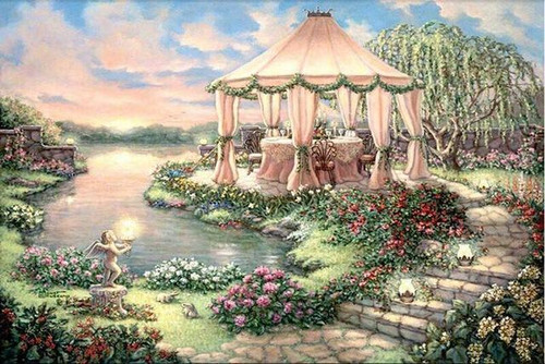 5D Diamond Painting Dining by the Lake Kit