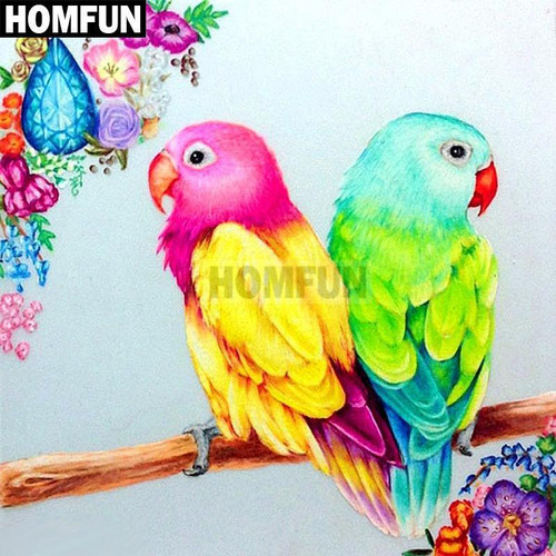 5D Diamond Painting Two Colorful BIrds Kit
