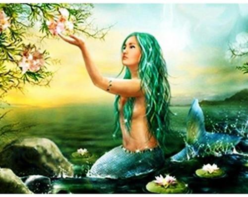 5D Diamond Painting Teal Haired Mermaid Kit