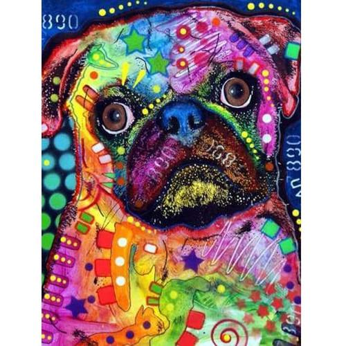 5D Diamond Painting Abstract Colored Pug Kit