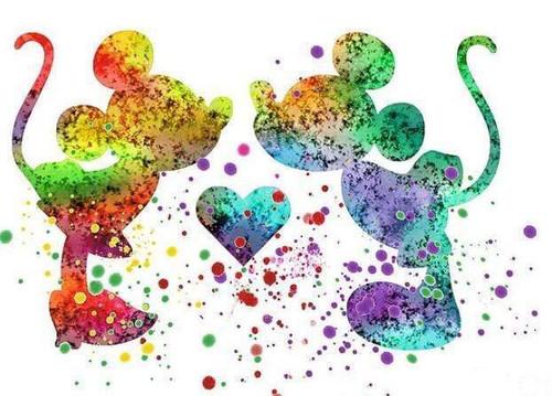 5D Diamond Painting Splatter Paint Mickey and Minnie Kit