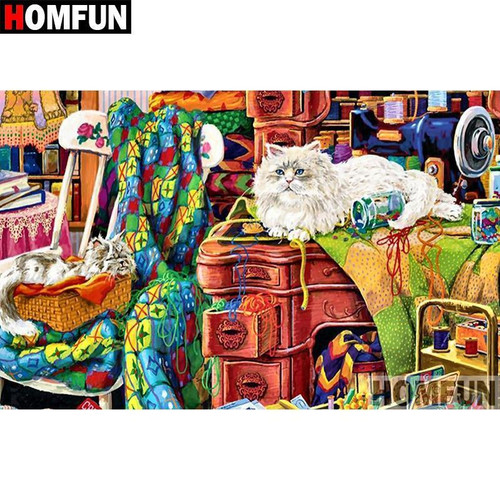 5D Diamond Painting Cats in the Sewing Room Kit