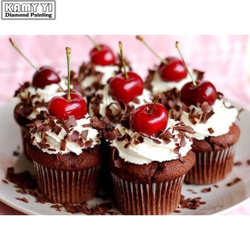 5D Diamond Painting Chocolate Cherry Cupcakes Kit
