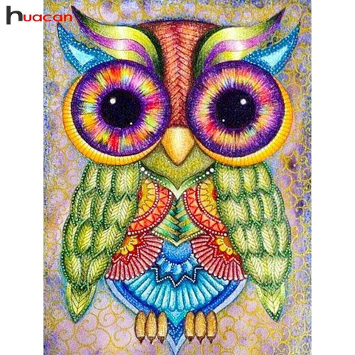 5D Diamond Painting Green Winged Owl Kit