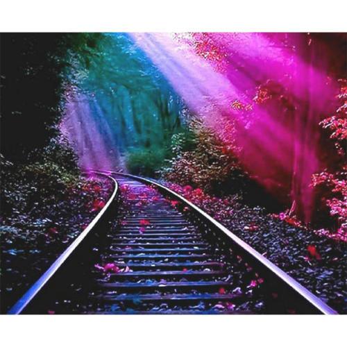 5D Diamond Painting Pink Sunlight Railroad Track Kit