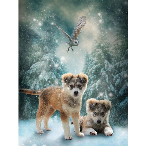 5D Diamond Painting Two Wolf Cubs Kit