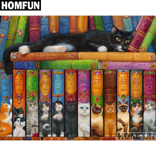 5D Diamond Painting Cat Library Books Kit