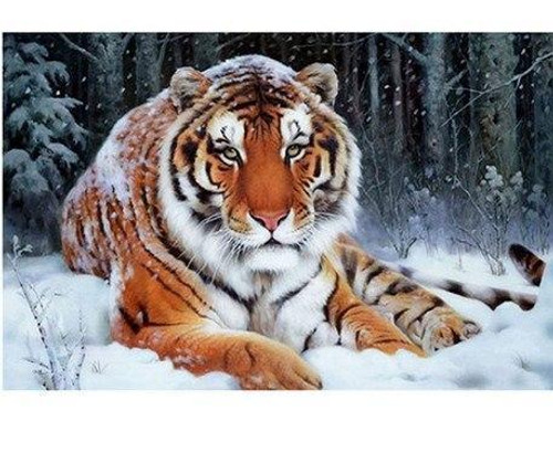 5D Diamond Painting Tiger in the Snow Kit