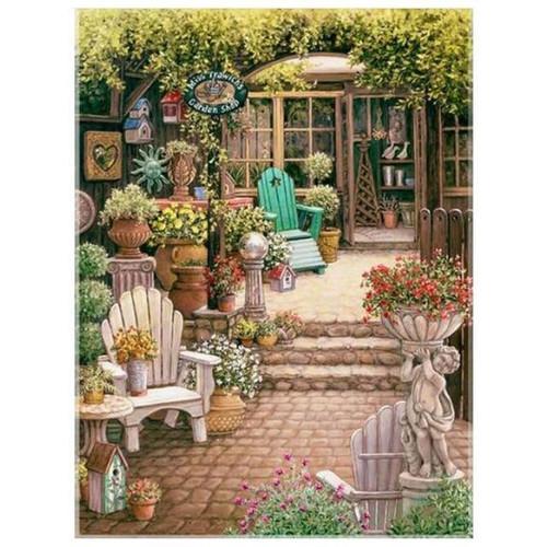 5D Diamond Painting Garden Shop Chairs Kit