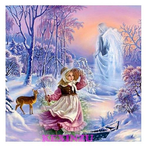 5D Diamond Painting Winter Guardian Angel Kit