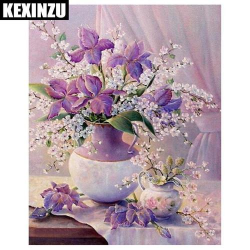 5D Diamond Painting Lavender Iris Bouquet Kit