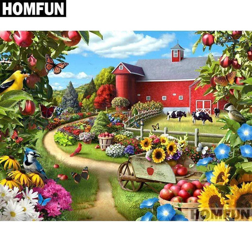 5D Diamond Painting Red Barn and Flowers Kit