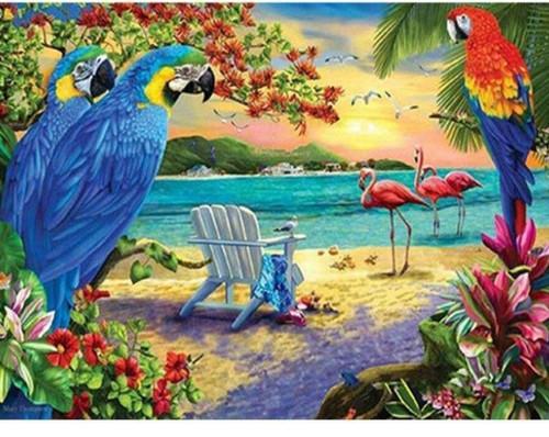 5D Diamond Painting Parrots and Flamingos Kit