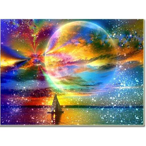 5D Diamond Painting Rainbow Moon Kit