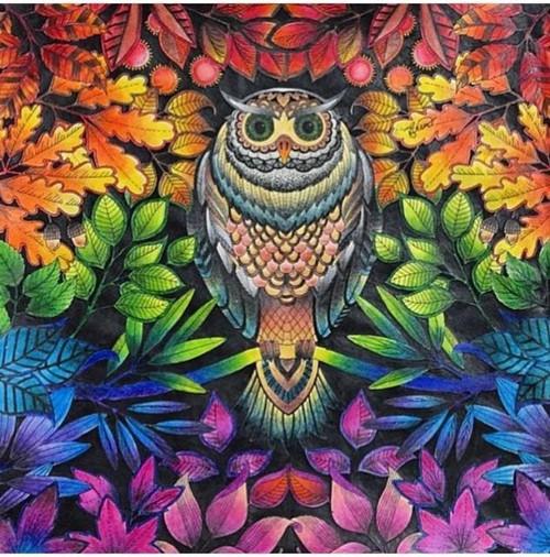 5D Diamond Painting Owl in Rainbow Leaves Kit
