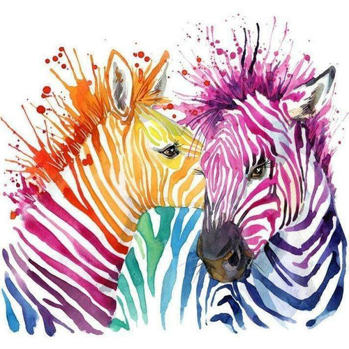 5D Diamond Painting Two Painted Zebras Kit