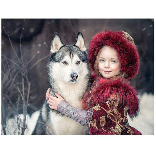 5D Diamond Painting Girl and Dog in the Snow Kit