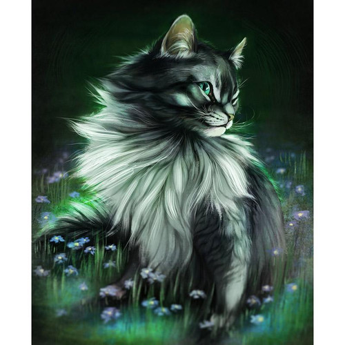 5D Diamond Painting Cat in the Flowers Kit