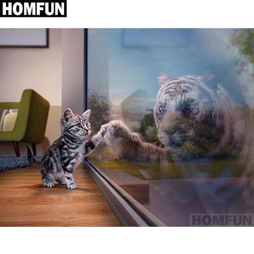 5D Diamond Painting Kitten Reflection Kit