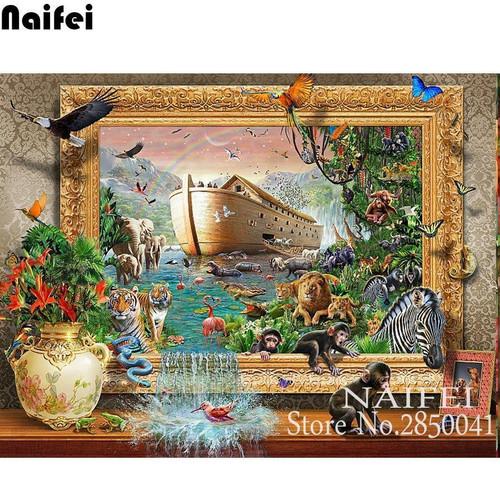 5D Diamond Painting Noah's Ark Animal Kit