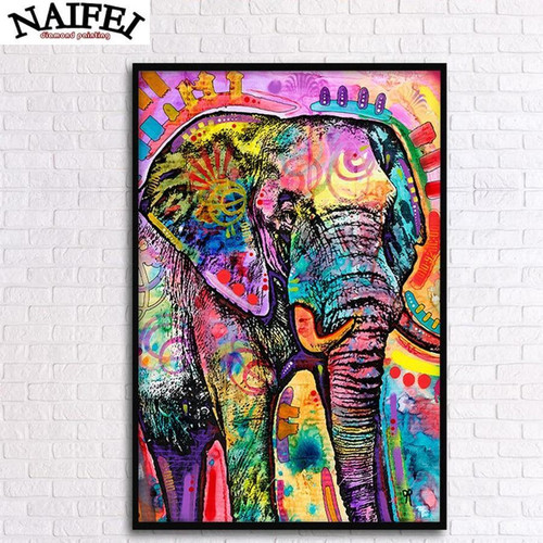 5D Diamond Painting Rainbow Abstract Elephant Kit