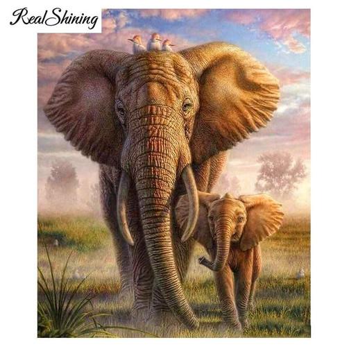 5D Diamond Painting Elephant and Baby Kit
