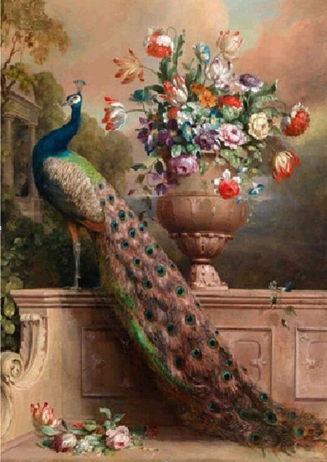 5D Diamond Painting Peacock Flower Bouquet Kit