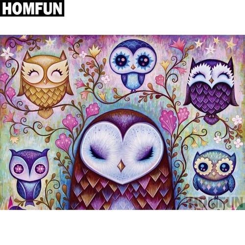5D Diamond Painting Six Abstract Owls Kit